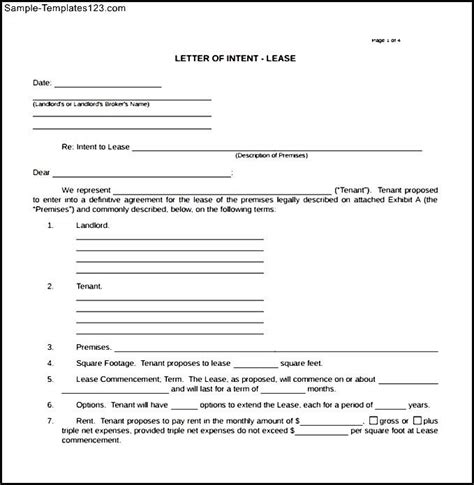 Blank Letter Of Intent To Lease Sle Blank Letter Of Intent Real Estate Lease Sle Templates