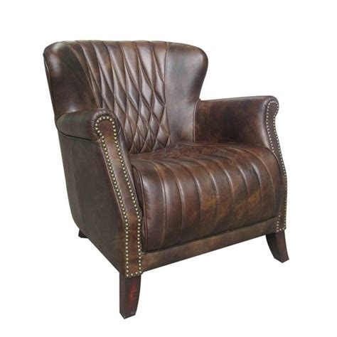 modern leather club chair 31 quot wide club arm modern chair vintage brown cigar