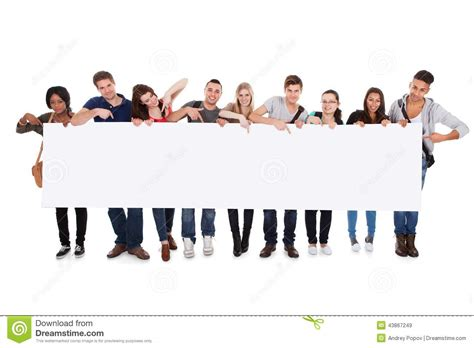 Bookcase Clipart College Students Displaying Blank Billboard Stock Photo