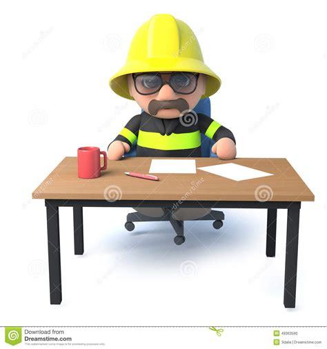Feuerwehrmann 3d Sitzt An Seinem Schreibtisch Stock