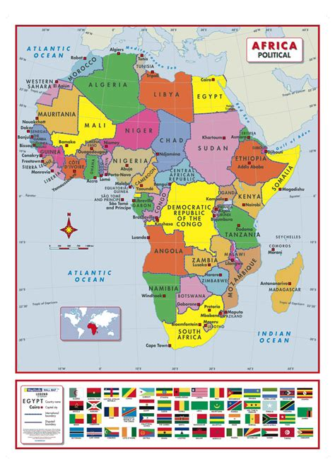 africa map learn africa political active learning wall map mapstudio