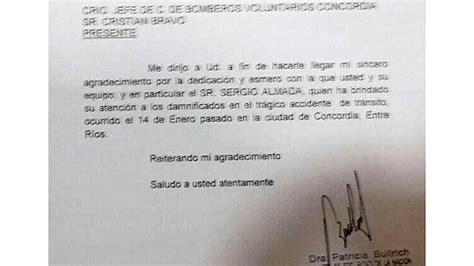 carta de agradecimiento por ser voluntario la ministra de seguridad envi 243 carta a los bomberos voluntarios de concordia pol 237 tica elonce
