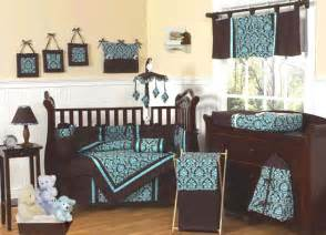 new blue and brown baby infant crib bedding set