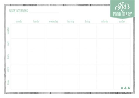 printable food diary for child home organizer meal planners eliza ellis