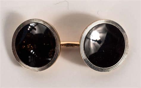 Cc Set Onyx Deco Onyx Gold Cufflink And Stud Set For Sale