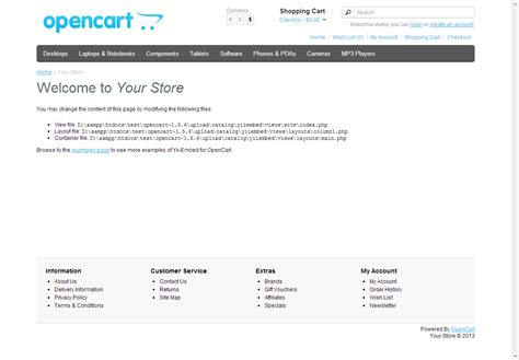 yii default layout main php yii embed for opencart