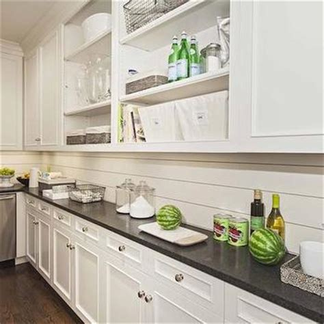 Black Kitchen Cabinets Ideas White Tongue And Groove Backsplash Design Ideas