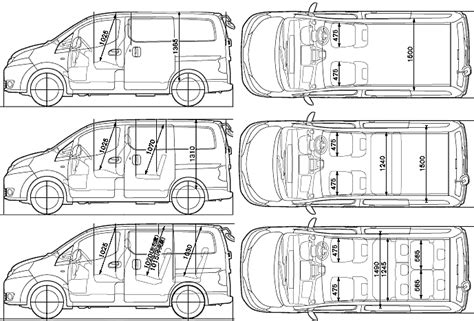 Car Blueprints Nissan Nv200 Vanette Blueprints Vector Drawings Clipart And Pdf Templates Nissan Nv200 Template