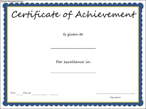 certificate of achievement template sle templates