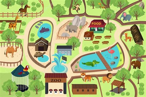 draw your own pattern en español map of a zoo park stock vector 169 artisticco 59221783