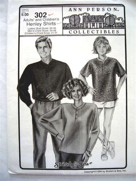 sewing pattern henley shirt stretch and sew 302 men s women s children s henley shirt