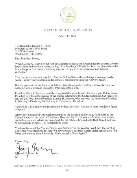 application letter addressed to the governor governor brown to president ahead of visit in
