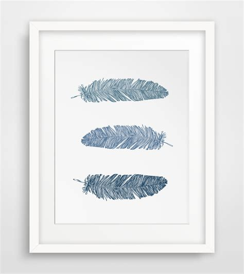printable wall art wall art ideas design navy blue feather wall art print