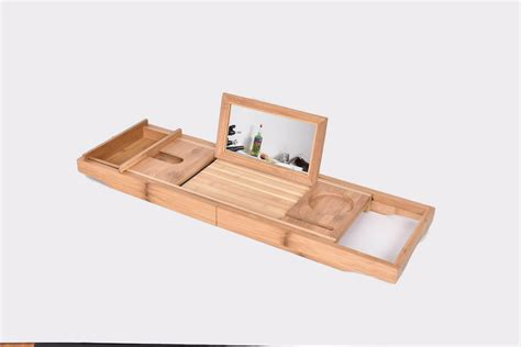 bathtub tray with book holder bamboo bath tub holder bathroom tray glass book reading
