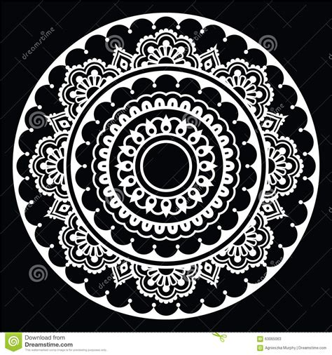 black and white round pattern mehndi indian henna floral tattoo white round pattern on