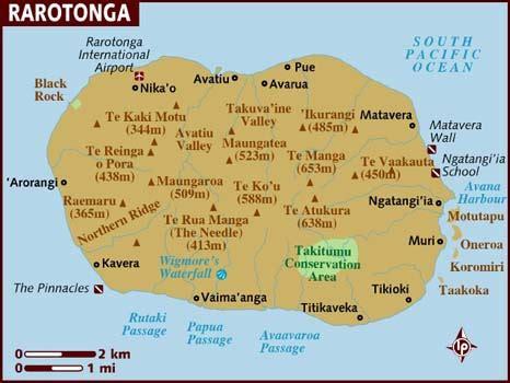 cook islands map world map of rarotonga