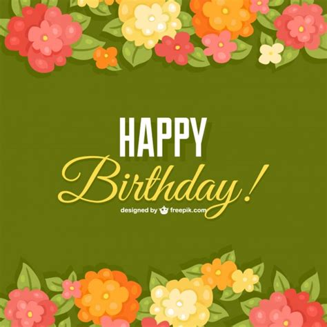 birthday card template floral birthday flowers card template vector free