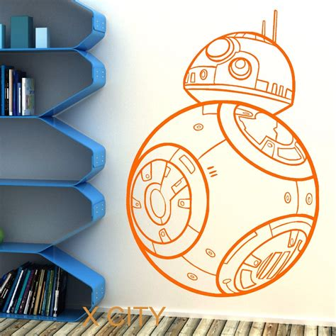 Childrens Wall Mural Stickers star wars bb 8 droid the force awakens vinyl wall art room