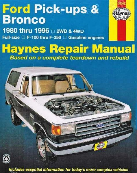 ford pick ups bronco petrol 1980 1996 haynes owners service repair manual 1620920107
