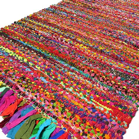 Bright Rag Rug Mix Of Colors Fabrics Chindi Rag Rugs Colorful Rugs