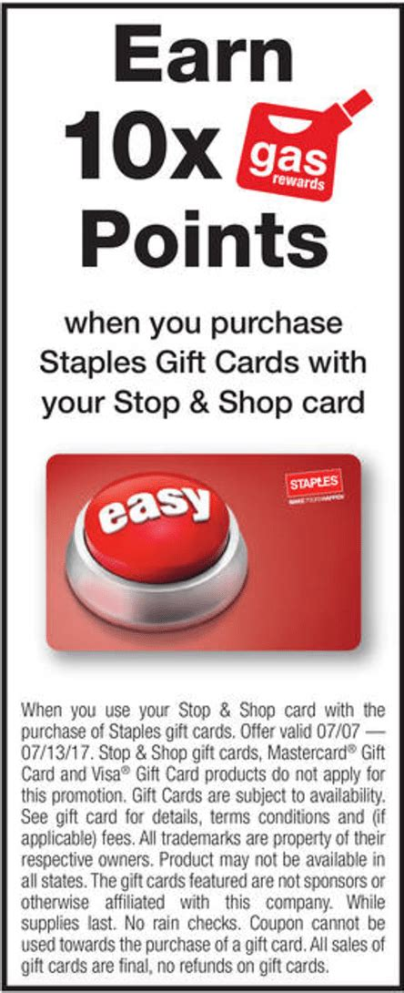 Martins Gift Cards - 10x fuel points on staples gift cards at giant stop shop martin s doctor of credit