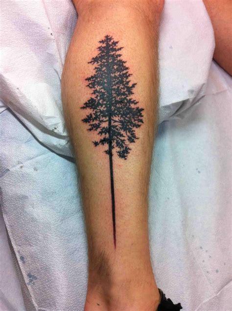 silhouette tattoos silhouette tree on leg by kennedy