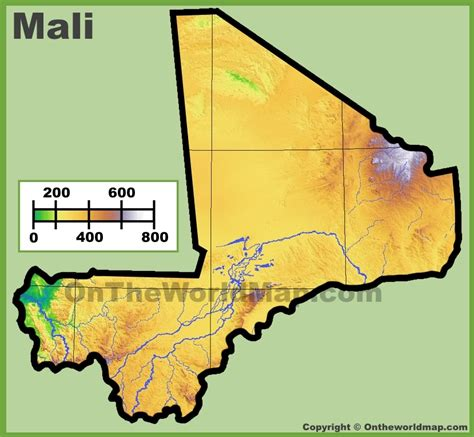 physical map of mali mali physical map