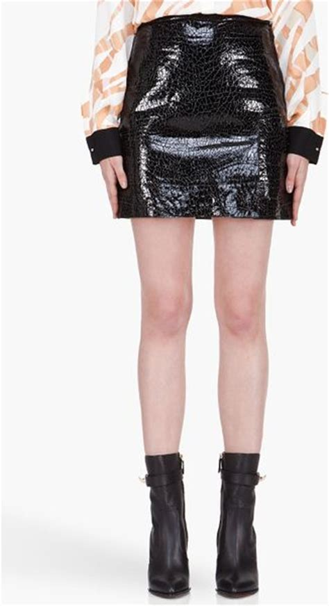 3 1 phillip lim black lizardskin patent leather skirt in
