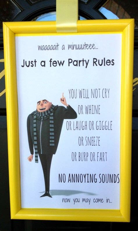 minion party gru rules sign despicable  party minion party party rules