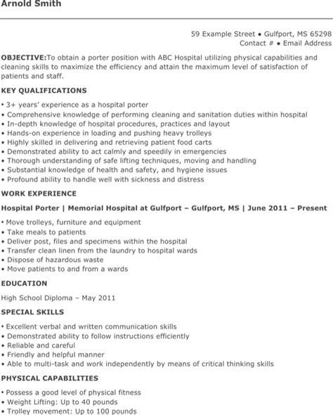 Hospital Porter Sle Resume by Hospital Porter Resume For Free Formtemplate