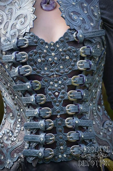 Absolute Devotion front fully carved leather corset armor by absolute
