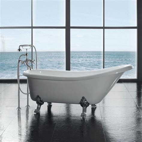 clawed bathtub ove decors 5 5 ft acrylic claw foot slipper tub in white clawfoot 66 with faucet