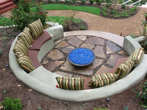built in fire pit benches southern california landscaping
