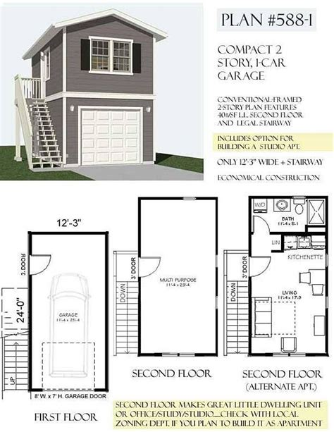 Two Story Garage Plans by 1 Car 2 Story Garage Apartment Plan 588 1 12 3 Quot X 24