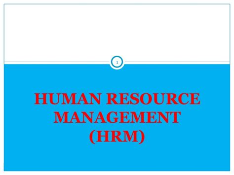 Mba Human Resource Management International by 1 Introduction To Hrm
