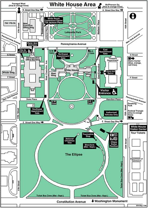 Lafayette Square by White House Grounds Map