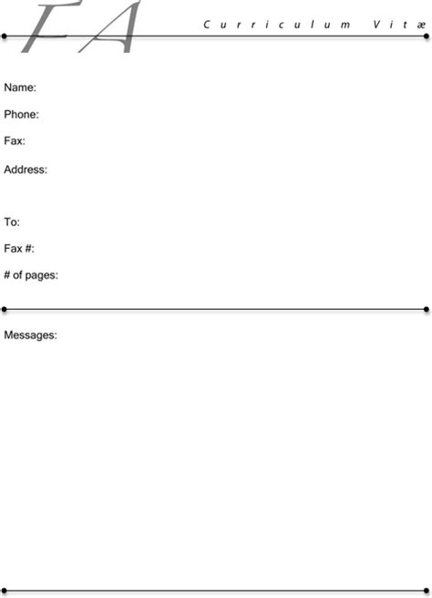 fax cover sheet for resume for excel pdf and word