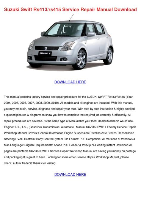 service manual pdf 1995 suzuki swift body repair manual pdf repair manual 1996 suzuki swift suzuki swift rs413rs415 service repair manual by ronnyreis issuu