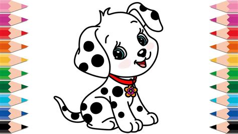 draw dalmatian cute dog  baby learn colors