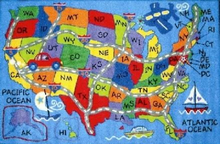 map of the united states rug 50 states map without names