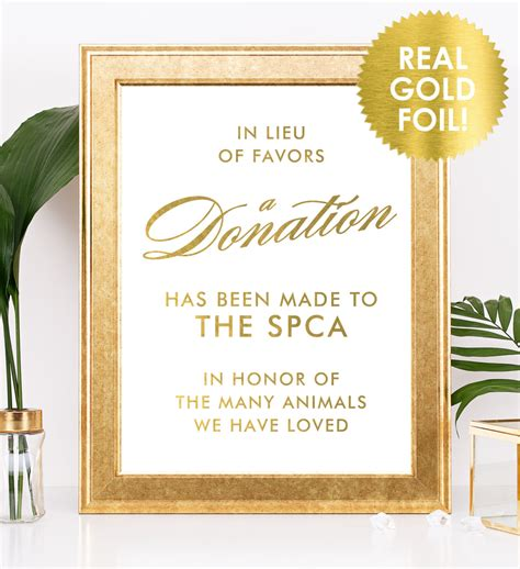 in lieu of gifts wedding in lieu of favors sign in gold foil wedding donation sign