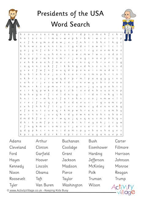 printable us presidents word search presidents of the usa word search