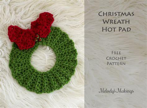 christmas tree hot pad pattern christmas wreath hot pad free pattern knit crochet