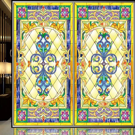 Continental Retro Stained Glass Window Film Stickers Stained Glass Stickers For Doors
