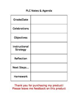 plc meeting agenda template plc agenda template by alisa kaczorowski teachers pay teachers