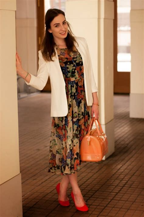 Get The Look Black White Floral Dresses For 100 by S White Blazer Black Floral Chiffon Midi Dress