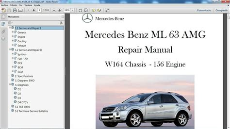 how to download repair manuals 2011 mercedes benz slk class user handbook mercedes benz ml 63 amg w164 manual de taller workshop repair