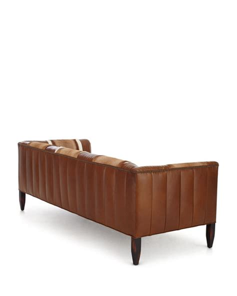 Hickory Tannery Leather Sofa by Hickory Tannery Hairhide Leather Sofa