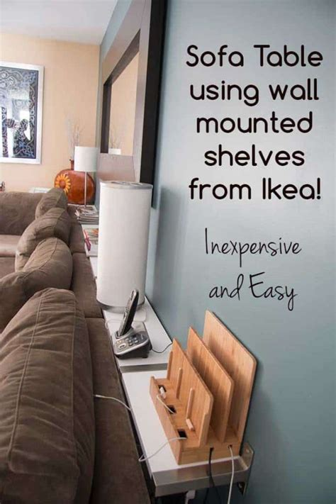 behind the couch shelf building a sofa table using ikea ekby wall mounted shelves
