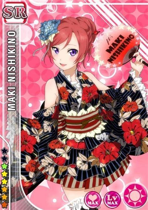 Live School Idol Festival Card Template Ur by 143 Nishikino Maki Sr Idolized Live Kimono Cards